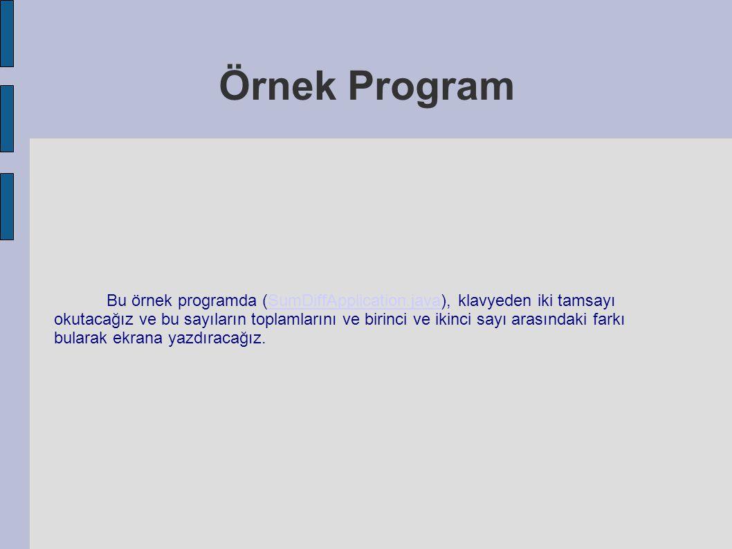 Örnek Program Bu örnek programda (SumDiffApplication.java), klavyeden iki tamsayı okutacağız ve bu sayıların toplamlarını ve birinci ve ikinci sayı ar