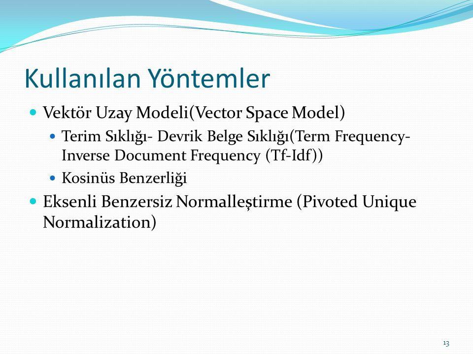Kullanılan Yöntemler Vektör Uzay Modeli(Vector Space Model) Terim Sıklığı- Devrik Belge Sıklığı(Term Frequency- Inverse Document Frequency (Tf-Idf)) K
