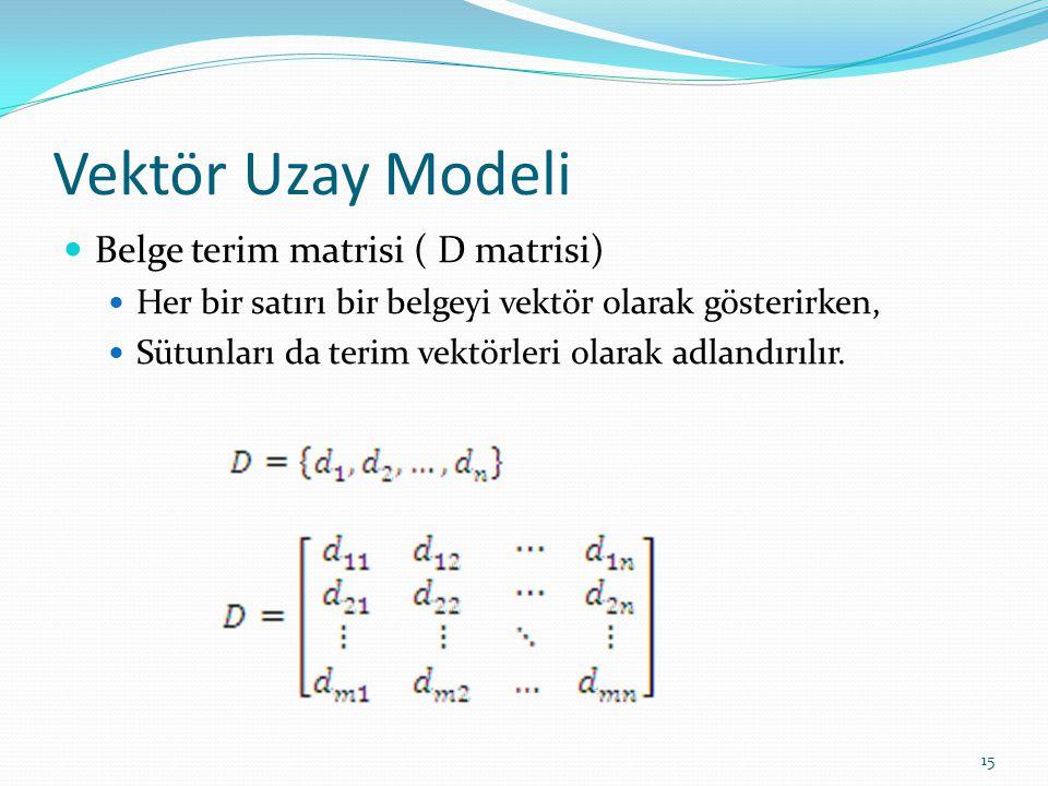 Vektör Uzay Modeli Belge terim matrisi ( D matrisi) Her bir satırı bir belgeyi vektör olarak gösterirken, Sütunları da terim vektörleri olarak adlandı