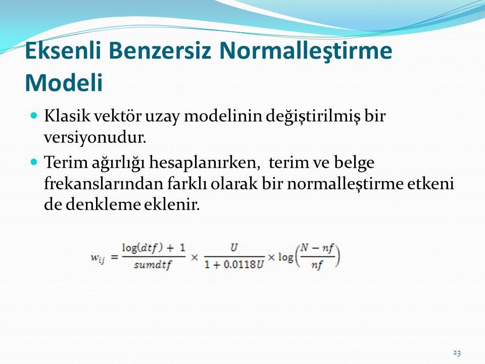 Eksenli Benzersiz Normalleştirme Modeli Klasik vektör uzay modelinin değiştirilmiş bir versiyonudur. Terim ağırlığı hesaplanırken, terim ve belge frek