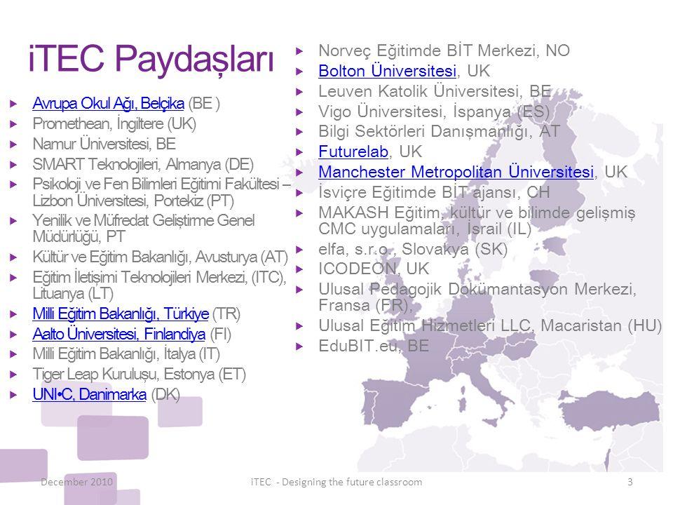 iTEC Paydaşları  Avrupa Okul Ağı, Belçika (BE ) Avrupa Okul Ağı, Belçika  Promethean, İngiltere (UK)  Namur Üniversitesi, BE  SMART Teknolojileri,