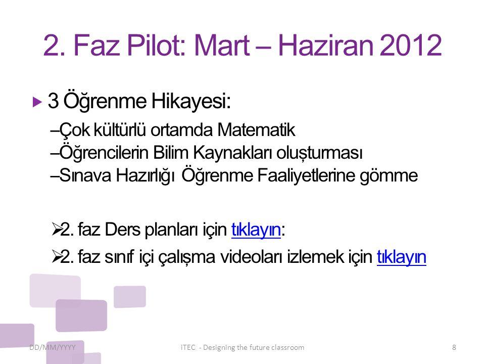 2. Faz Pilot: Mart – Haziran 2012  3 Öğrenme Hikayesi: –Çok kültürlü ortamda Matematik –Öğrencilerin Bilim Kaynakları oluşturması –Sınava Hazırlığı Ö