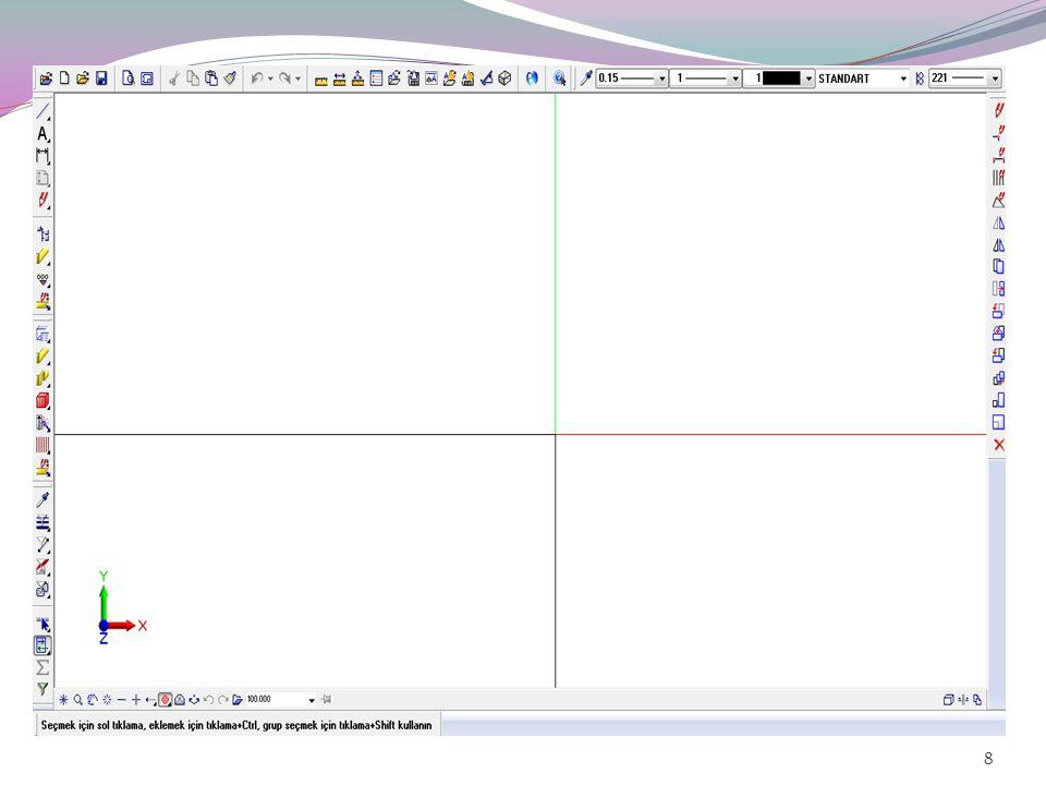 Üzerinde çizim yaptığınız dosyalar, projeler altında düzenlenirler.