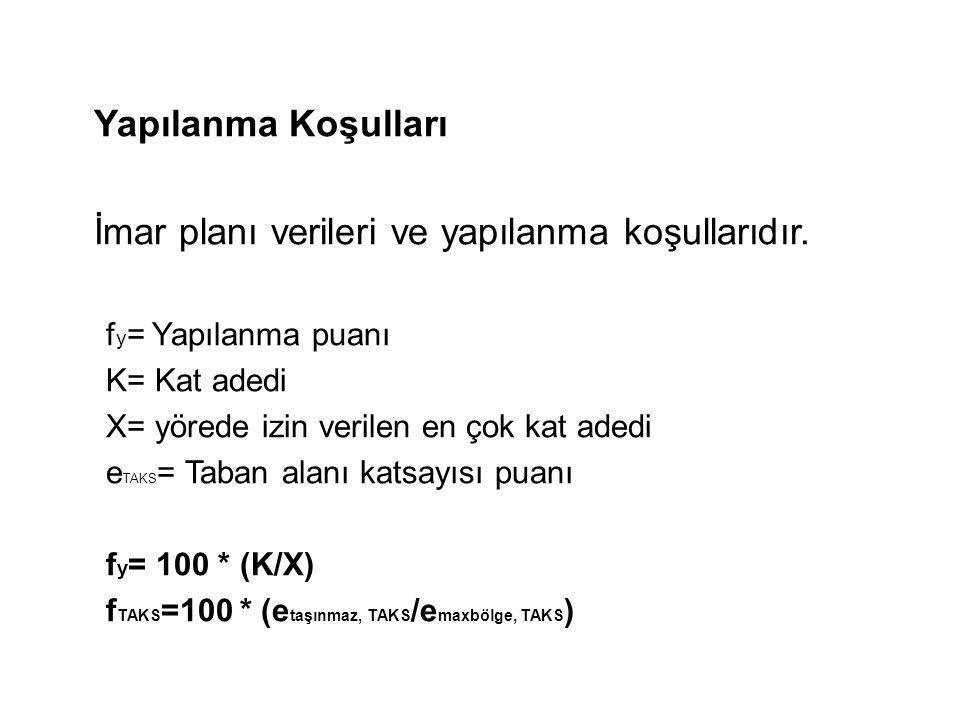 Yapılanma Koşulları İmar planı verileri ve yapılanma koşullarıdır. f y = Yapılanma puanı K= Kat adedi X= yörede izin verilen en çok kat adedi e TAKS =