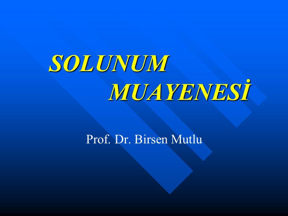 SOLUNUM MUAYENESİ SOLUNUM MUAYENESİ Prof. Dr. Birsen Mutlu