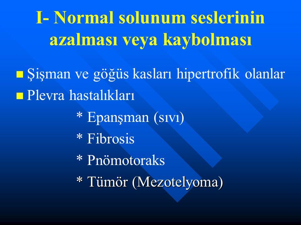 I- Normal solunum seslerinin azalması veya kaybolması Şişman ve göğüs kasları hipertrofik olanlar Plevra hastalıkları * Epanşman (sıvı) * Fibrosis * P