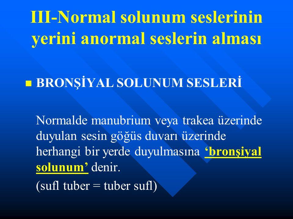 III-Normal solunum seslerinin yerini anormal seslerin alması BRONŞİYAL SOLUNUM SESLERİ Normalde manubrium veya trakea üzerinde duyulan sesin göğüs duv