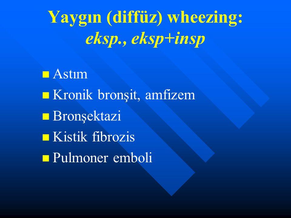 Yaygın (diffüz) wheezing: eksp., eksp+insp Astım Kronik bronşit, amfizem Bronşektazi Kistik fibrozis Pulmoner emboli
