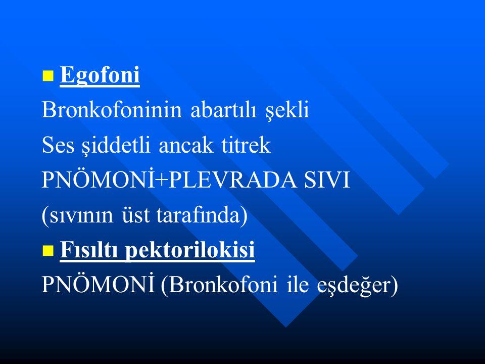 Egofoni Bronkofoninin abartılı şekli Ses şiddetli ancak titrek PNÖMONİ+PLEVRADA SIVI (sıvının üst tarafında) Fısıltı pektorilokisi PNÖMONİ (Bronkofoni
