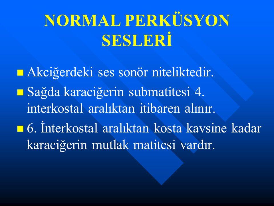NORMAL PERKÜSYON SESLERİ Akciğerdeki ses sonör niteliktedir. Sağda karaciğerin submatitesi 4. interkostal aralıktan itibaren alınır. 6. İnterkostal ar