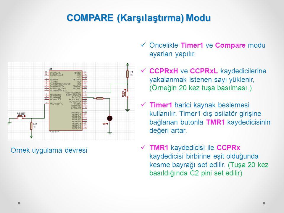 Öncelikle Timer1 ve Compare modu ayarları yapılır. CCPRxH ve CCPRxL kaydedicilerine yakalanmak istenen sayı yüklenir, (Örneğin 20 kez tuşa basılması.)