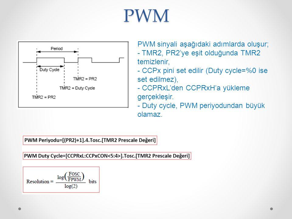 PWM PWM sinyali aşağıdaki adımlarda oluşur; - TMR2, PR2'ye eşit olduğunda TMR2 temizlenir, - CCPx pini set edilir (Duty cycle=%0 ise set edilmez), - C