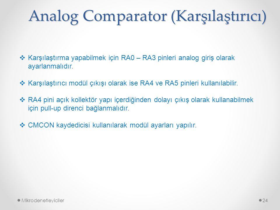 Mikrodenetleyiciler24 Analog Comparator (Karşılaştırıcı)  Karşılaştırma yapabilmek için RA0 – RA3 pinleri analog giriş olarak ayarlanmalıdır.  Karşı