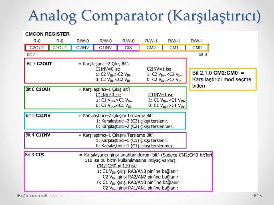 Mikrodenetleyiciler26 Analog Comparator (Karşılaştırıcı)