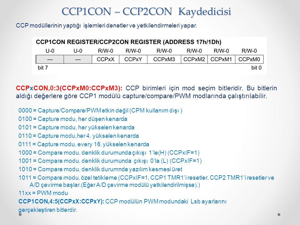 CCP1CON – CCP2CON Kaydedicisi CCP modüllerinin yaptığı işlemleri denetler ve yetkilendirmeleri yapar. CCPxCON,0:3(CCPxM0:CCPxM3): CCP birimleri için m