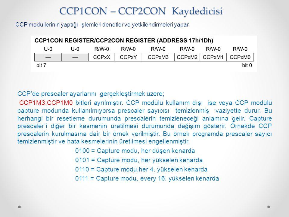 CCP1CON – CCP2CON Kaydedicisi CCP modüllerinin yaptığı işlemleri denetler ve yetkilendirmeleri yapar. CCP'de prescaler ayarlarını gerçekleştirmek üzer