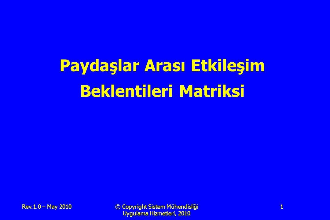 Rev.1.0 – May 2010© Copyright Sistem Mühendisliği Uygulama Hizmetleri, 2010 1 Paydaşlar Arası Etkileşim Beklentileri Matriksi