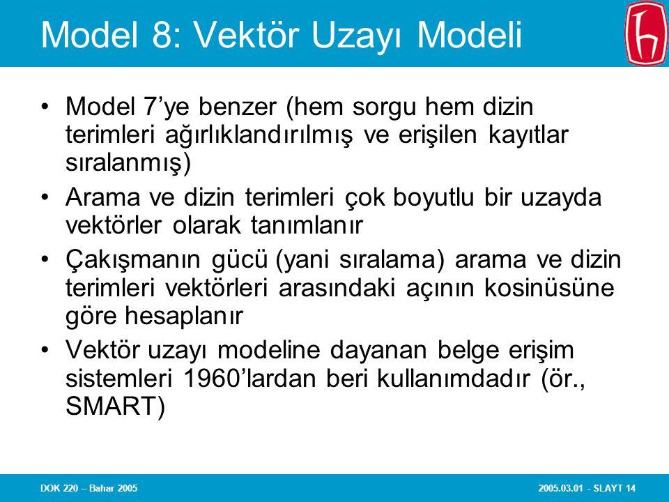 2005.03.01 - SLAYT 14DOK 220 – Bahar 2005 Model 8: Vektör Uzayı Modeli Model 7'ye benzer (hem sorgu hem dizin terimleri ağırlıklandırılmış ve erişilen