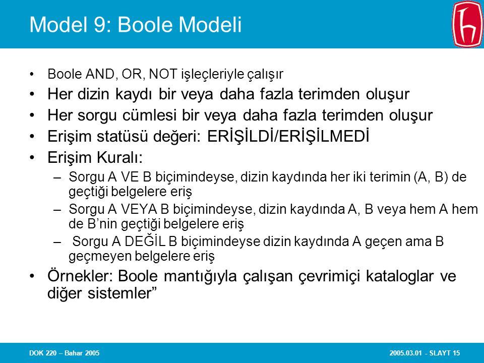 2005.03.01 - SLAYT 15DOK 220 – Bahar 2005 Model 9: Boole Modeli Boole AND, OR, NOT işleçleriyle çalışır Her dizin kaydı bir veya daha fazla terimden o