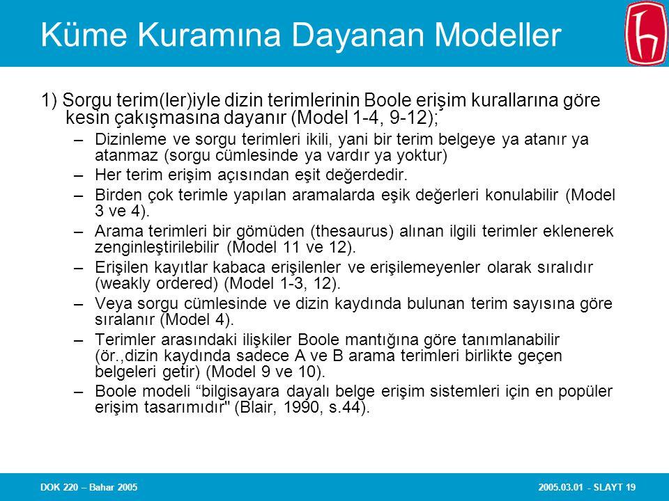 2005.03.01 - SLAYT 19DOK 220 – Bahar 2005 Küme Kuramına Dayanan Modeller 1) Sorgu terim(ler)iyle dizin terimlerinin Boole erişim kurallarına göre kesi
