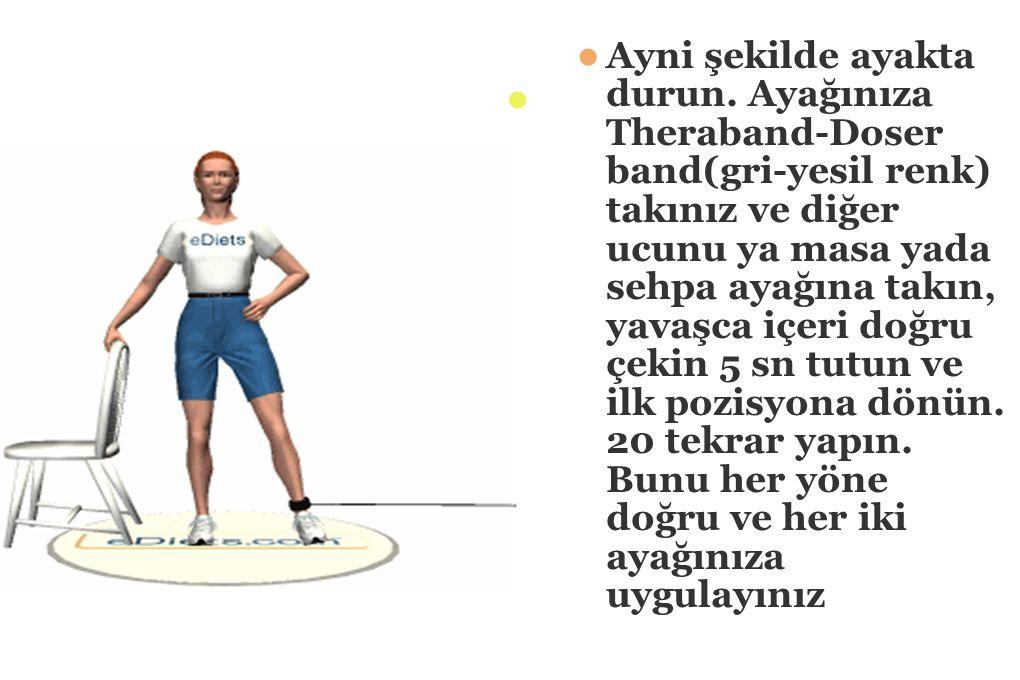 Sekildeki gibi yere uzanın.Dizinizi kırmadan kalçanızdan bacağınızı yukarı doğru kaldırın.5 sn tutun ve ilk pozisyona dönün.