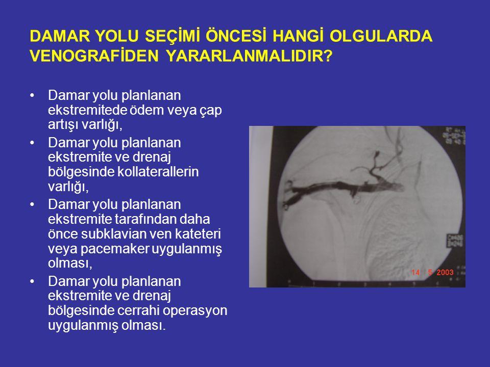 SANTRAL VENÖZ KATETERLER (SVK) 1979 Uldall, SCV kateterizasyonu; 1983 Kaflı, tünelli kateter kullanımı Endikasyon –Kısa süreli Hemodiyaliz, plazmaferez, hemofiltrasyon, hemodiafiltrasyon, ilik nakli gerektiğinde –Uzun süreli Hemodiyaliz Kronik hemodiyaliz tedavisine başlayan olguların %70-80 inde başlangıç damar yolu kateterler olarak belirtilmektedir.