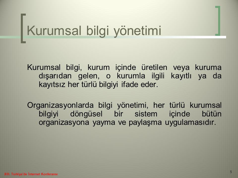 16 XIII. Türkiye de İnternet Konferansı Açık erişim ve açık arşivler