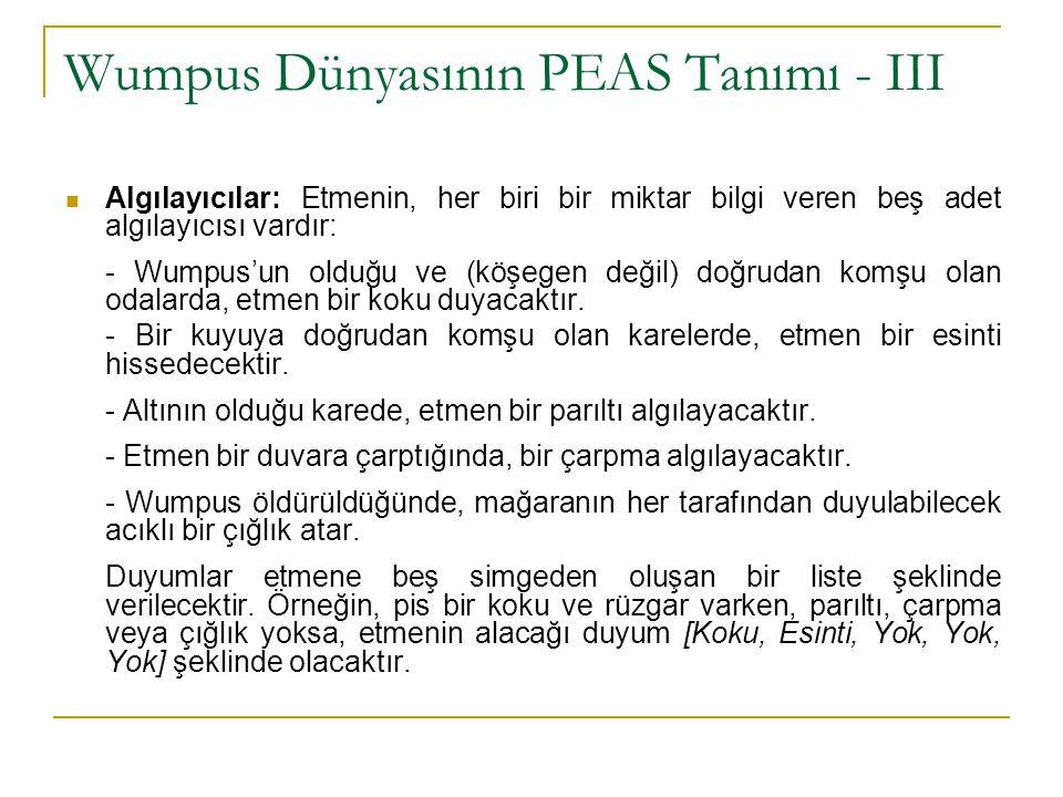 Wumpus Dünyasının PEAS Tanımı - III Algılayıcılar: Etmenin, her biri bir miktar bilgi veren beş adet algılayıcısı vardır: - Wumpus'un olduğu ve (köşeg