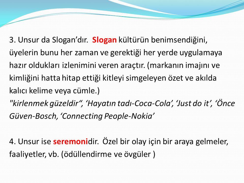 3. Unsur da Slogan'dır. Slogan kültürün benimsendiğini, üyelerin bunu her zaman ve gerektiği her yerde uygulamaya hazır oldukları izlenimini veren ara