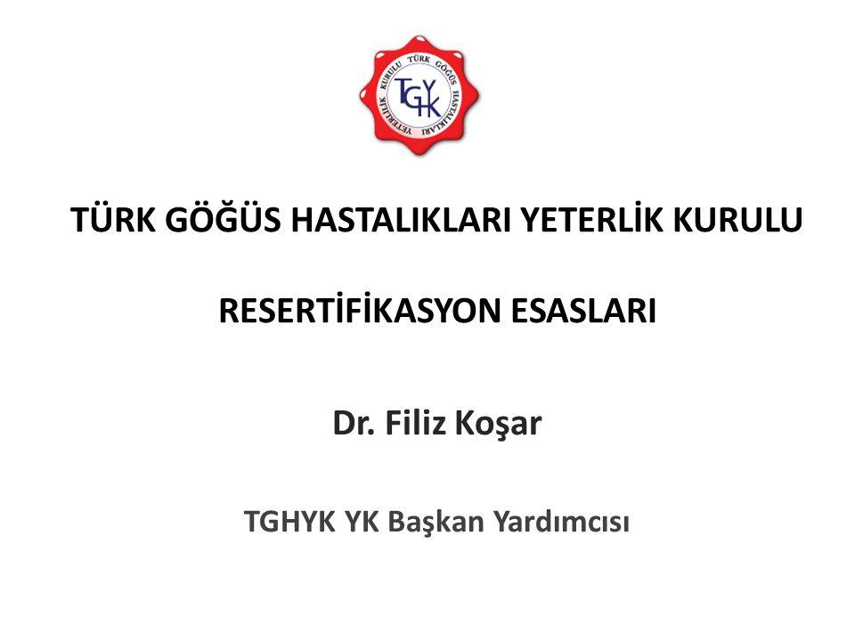 TÜRK GÖĞÜS HASTALIKLARI YETERLİK KURULU RESERTİFİKASYON ESASLARI Dr. Filiz Koşar TGHYK YK Başkan Yardımcısı