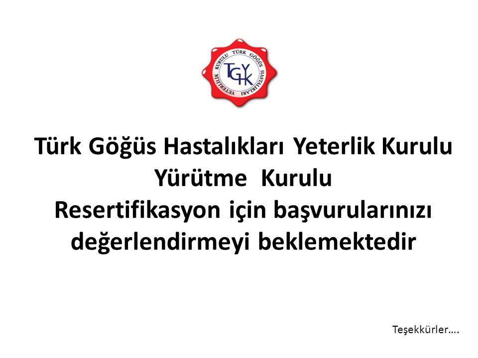 Türk Göğüs Hastalıkları Yeterlik Kurulu Yürütme Kurulu Resertifikasyon için başvurularınızı değerlendirmeyi beklemektedir Teşekkürler….