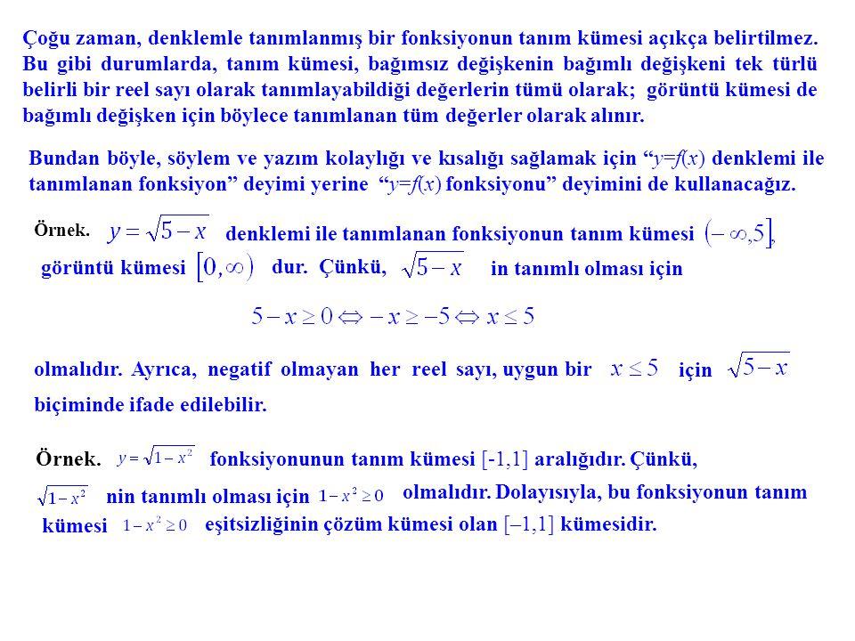 Çoğu zaman, denklemle tanımlanmış bir fonksiyonun tanım kümesi açıkça belirtilmez. Bu gibi durumlarda, tanım kümesi, bağımsız değişkenin bağımlı değiş