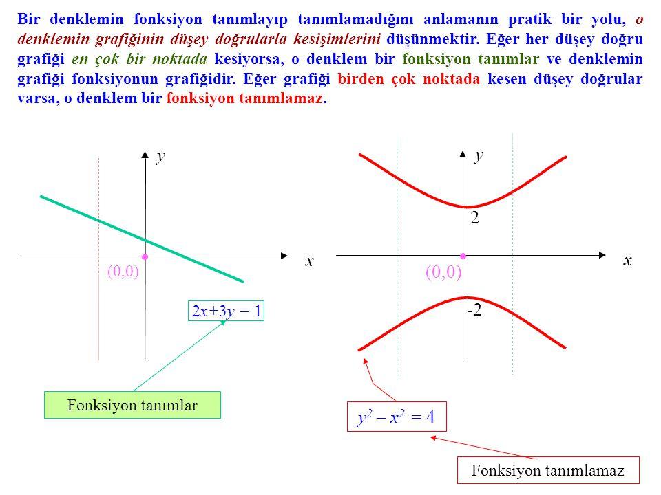Bir denklemin fonksiyon tanımlayıp tanımlamadığını anlamanın pratik bir yolu, o denklemin grafiğinin düşey doğrularla kesişimlerini düşünmektir. Eğer