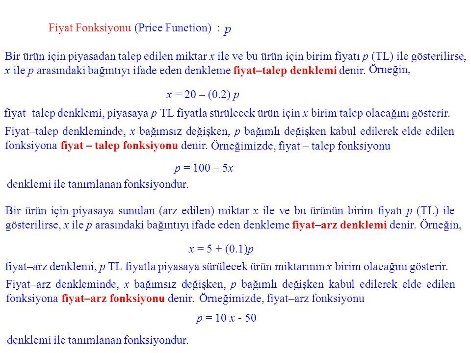 Fiyat Fonksiyonu (Price Function) : Bir ürün için piyasadan talep edilen miktar x ile ve bu ürün için birim fiyatı p (TL) ile gösterilirse, x ile p ar