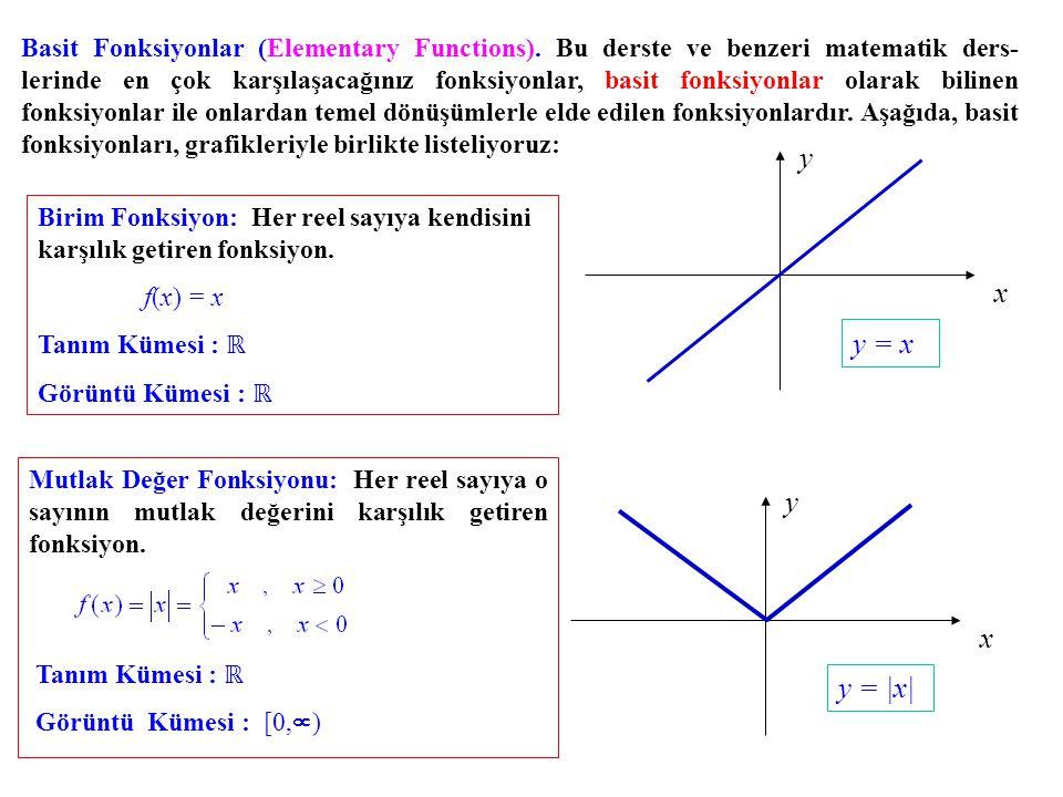 Mutlak Değer Fonksiyonu: Her reel sayıya o sayının mutlak değerini karşılık getiren fonksiyon. Basit Fonksiyonlar (Elementary Functions). Bu derste ve