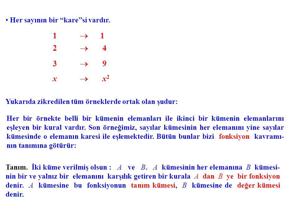 """Her sayının bir """"kare""""si vardır. 1  1 2  4 3  9 x  x 2 Yukarıda zikredilen tüm örneklerde ortak olan şudur: Her bir örnekte belli bir kümenin elem"""