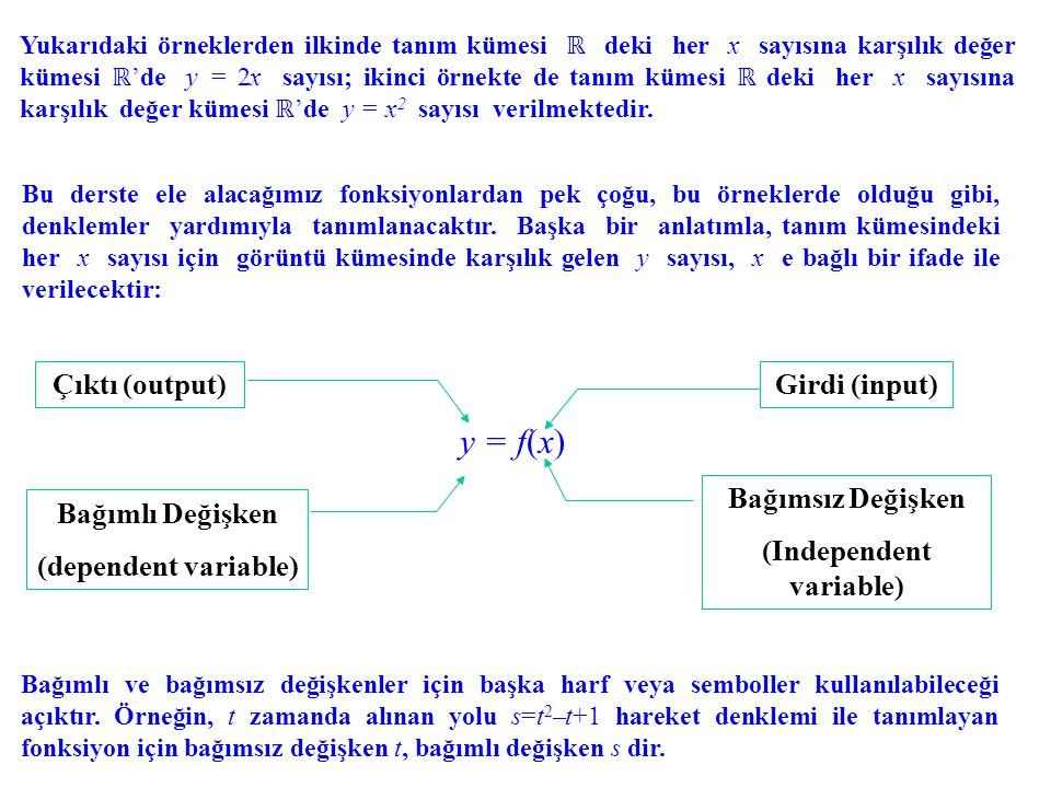 Yukarıdaki örneklerden ilkinde tanım kümesi ℝ deki her x sayısına karşılık değer kümesi ℝ 'de y = 2x sayısı; ikinci örnekte de tanım kümesi ℝ deki her