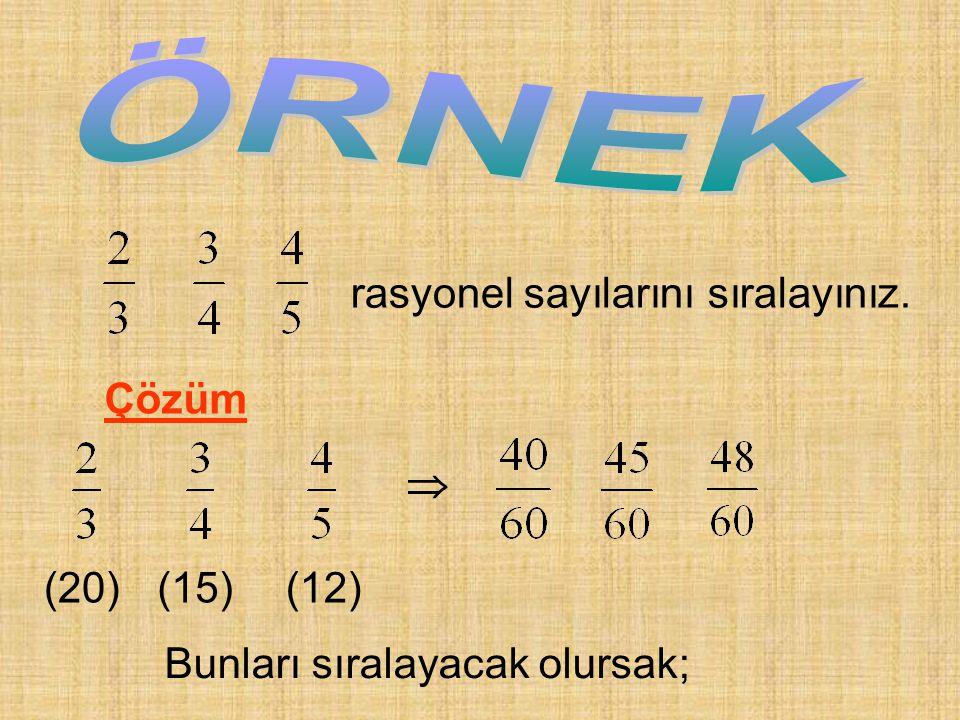 rasyonel sayılarını sıralayınız. Çözüm (20) (15) (12)  Bunları sıralayacak olursak;