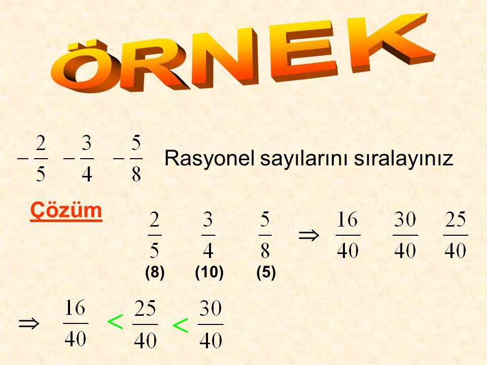 Rasyonel sayılarını sıralayınız Çözüm (8) (10)(5)    