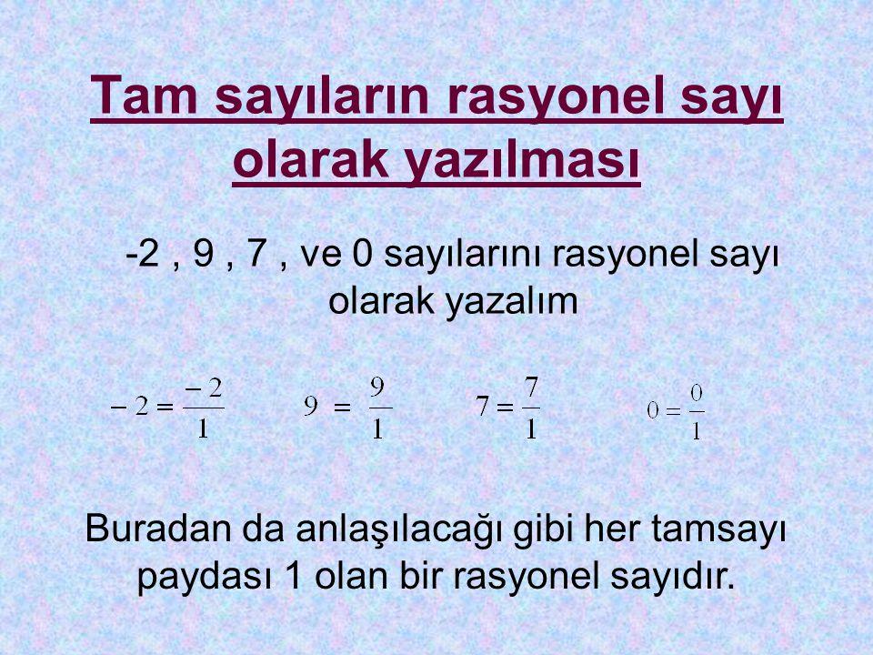 Tam sayıların rasyonel sayı olarak yazılması -2, 9, 7, ve 0 sayılarını rasyonel sayı olarak yazalım Buradan da anlaşılacağı gibi her tamsayı paydası 1