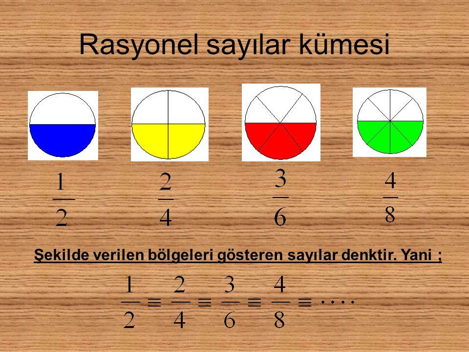 Rasyonel sayılar kümesi Şekilde verilen bölgeleri gösteren sayılar denktir. Yani ;