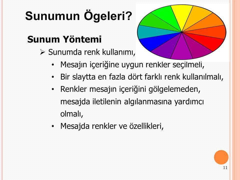 Sunumun Ögeleri? Sunum Yöntemi  Sunumda renk kullanımı, Mesajın içeriğine uygun renkler seçilmeli, Bir slaytta en fazla dört farklı renk kullanılmalı