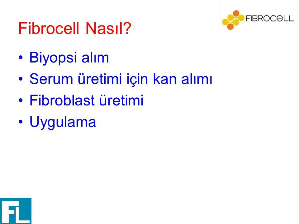 Fibrocell Nasıl? Biyopsi alım Serum üretimi için kan alımı Fibroblast üretimi Uygulama
