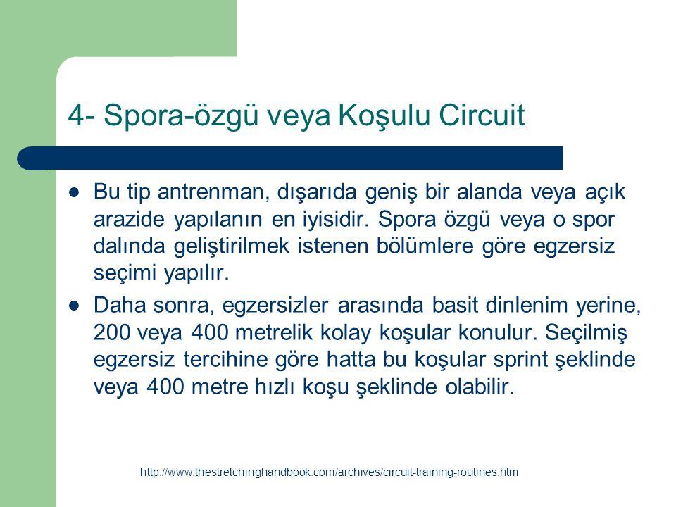 4- Spora-özgü veya Koşulu Circuit Bu tip antrenman, dışarıda geniş bir alanda veya açık arazide yapılanın en iyisidir. Spora özgü veya o spor dalında