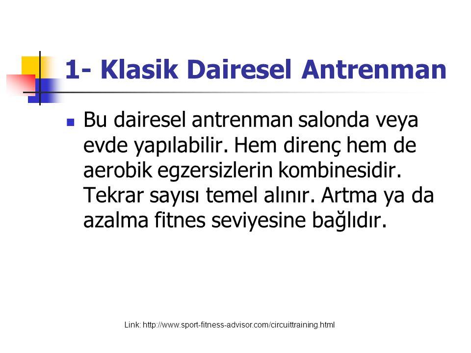 Örnek: Klasik Dairesel Antrenman http://www.sport-fitness-advisor.com/circuittraining.html