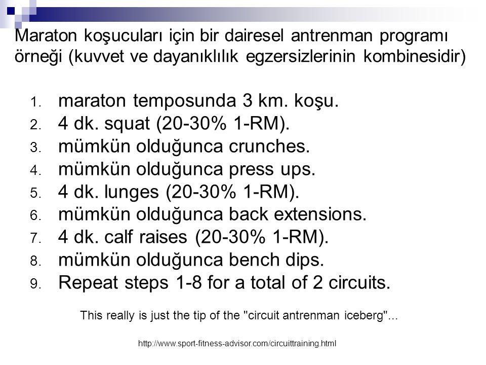 Maraton koşucuları için bir dairesel antrenman programı örneği (kuvvet ve dayanıklılık egzersizlerinin kombinesidir) 1. maraton temposunda 3 km. koşu.