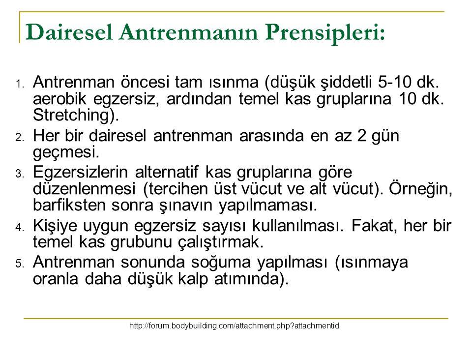 Dairesel Antrenmanın Prensipleri: 1. Antrenman öncesi tam ısınma (düşük şiddetli 5-10 dk. aerobik egzersiz, ardından temel kas gruplarına 10 dk. Stret