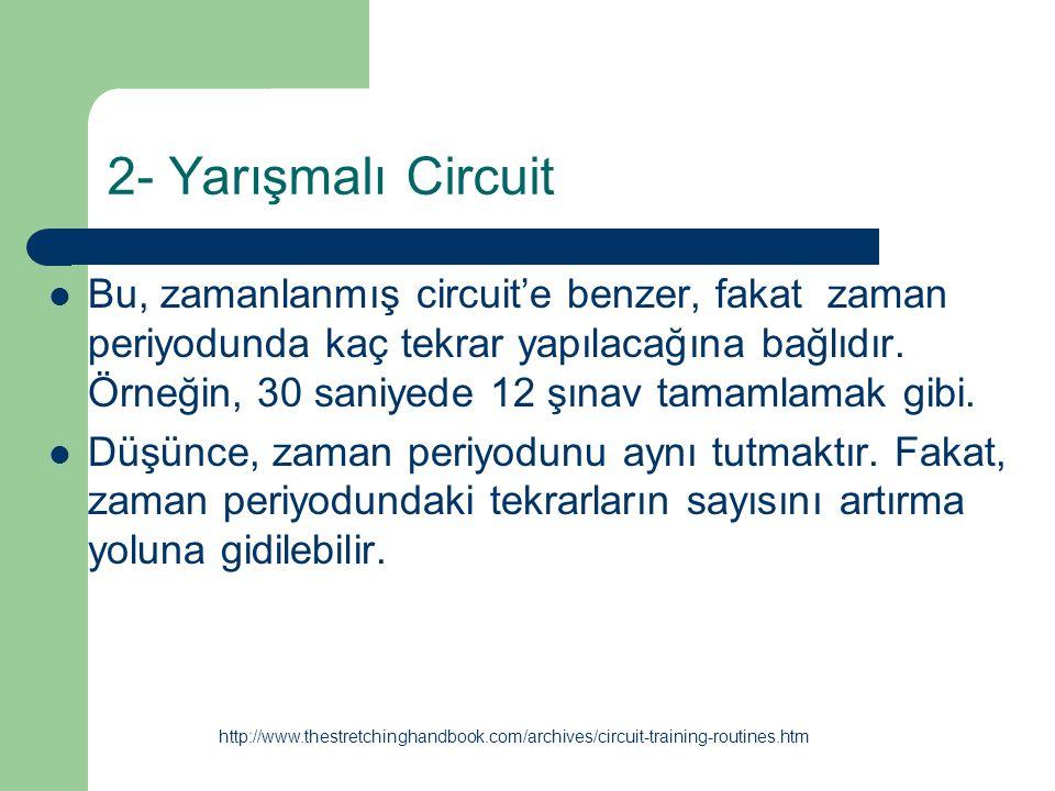 2- Yarışmalı Circuit Bu, zamanlanmış circuit'e benzer, fakat zaman periyodunda kaç tekrar yapılacağına bağlıdır. Örneğin, 30 saniyede 12 şınav tamamla