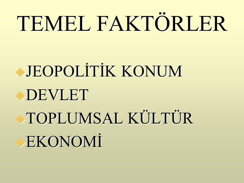 TEMEL FAKTÖRLER  JEOPOLİTİK KONUM  DEVLET  TOPLUMSAL KÜLTÜR  EKONOMİ