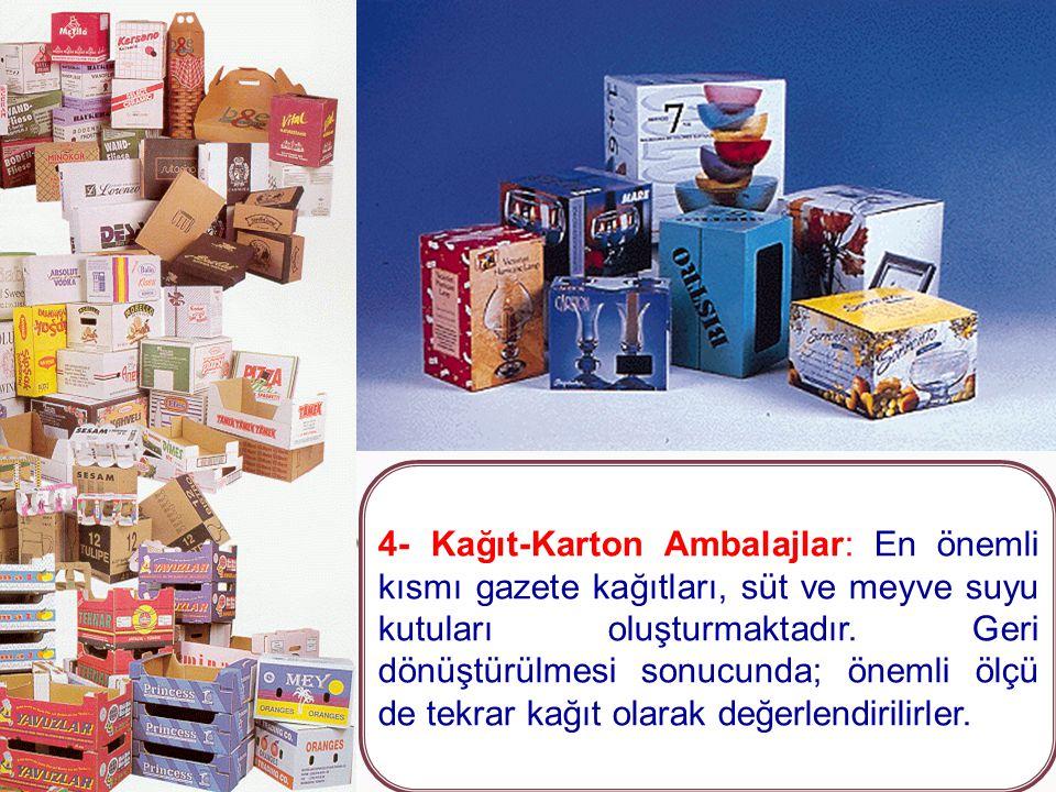 3- Plastik Ambalajlar: Özellikle gıda, meşrubat, deterjan ve kozmetik ürünlerin ambalajlarıdır. Geri dönüştürülmesi sonucunda; plastik torba, marley,